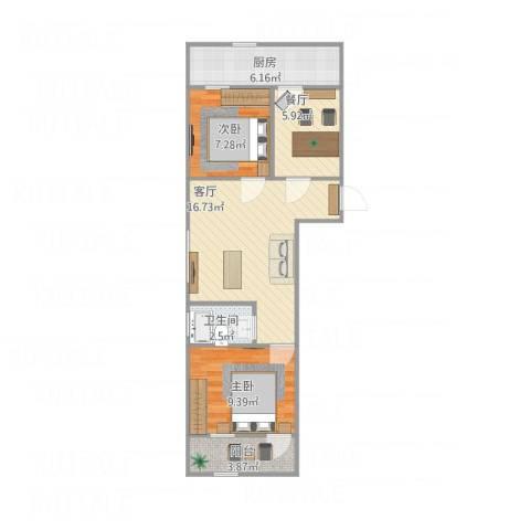 东环花园2室2厅1卫1厨71.00㎡户型图