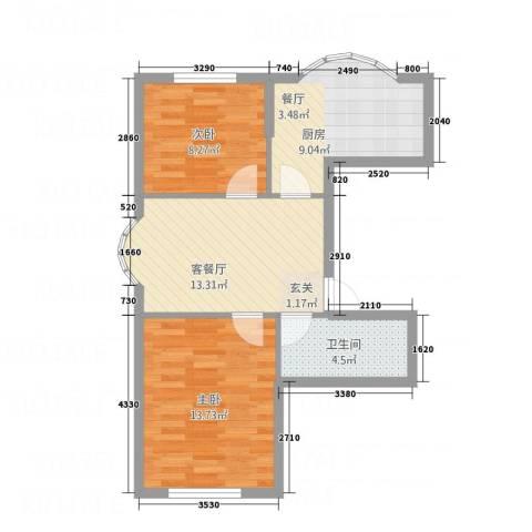 华宇名门2室1厅1卫1厨48.85㎡户型图