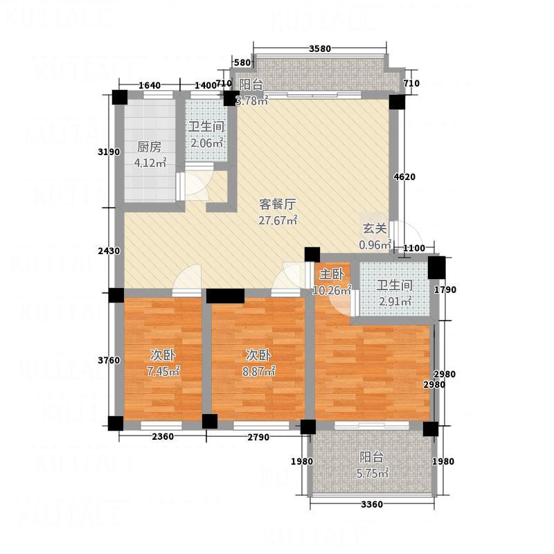 明天世纪广场户型3室2厅2卫1厨