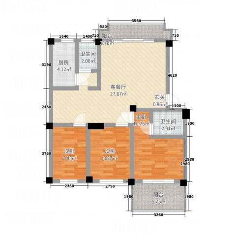 明天世纪广场3室1厅2卫1厨108.00㎡户型图