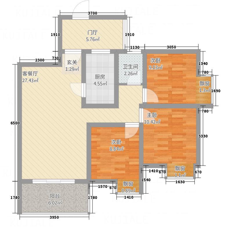 龙洲名都431.52㎡A-4户型3室2厅1卫1厨