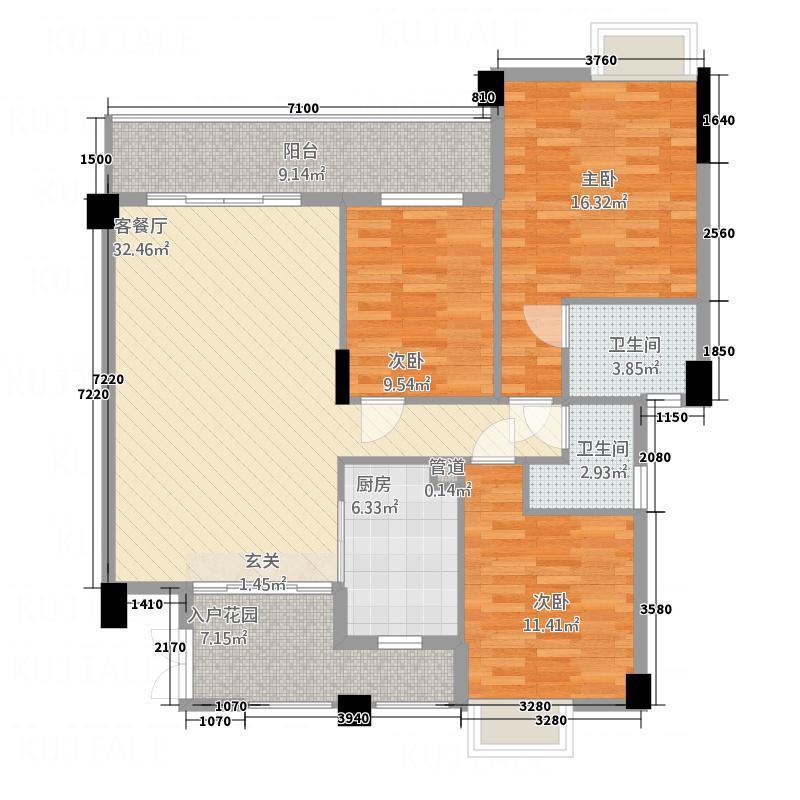 宏怡雅花苑118.20㎡彩虹1、3座02户型3室2厅2卫1厨