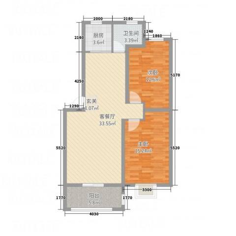 绿景水岸二期2室1厅1卫1厨74.18㎡户型图