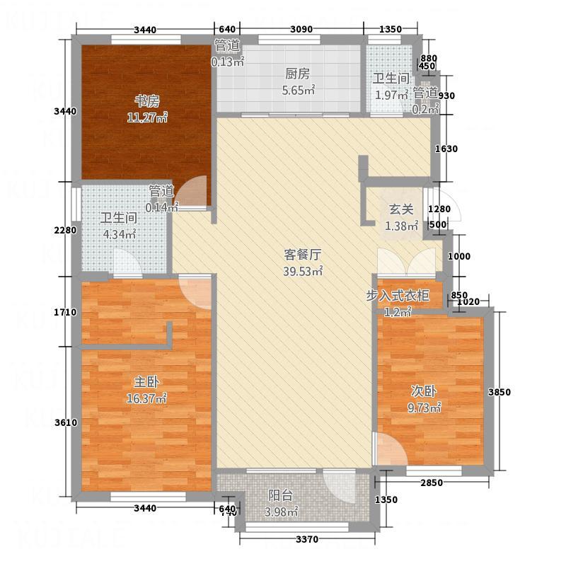 万科城132.00㎡C9-C15#楼户型3室2厅2卫1厨