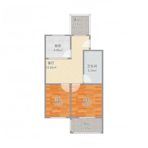 迎宾小区102#楼2室1厅1卫1厨63.00㎡户型图