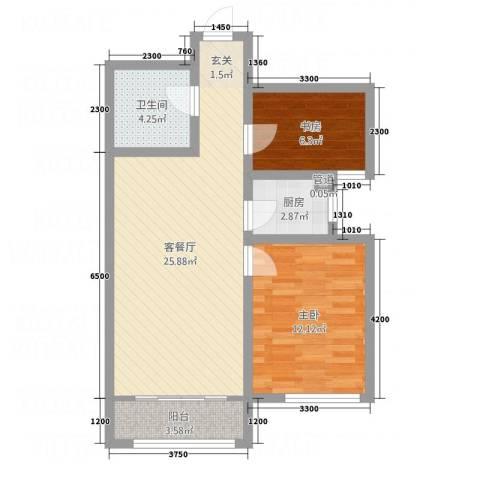 石山新天地2室1厅1卫1厨87.00㎡户型图