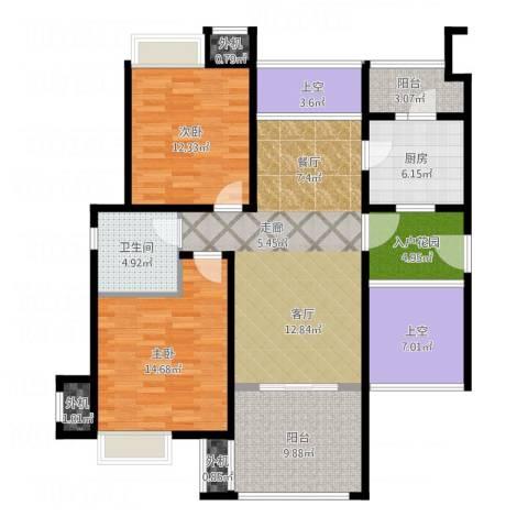 保利海上五月花2室1厅1卫1厨136.00㎡户型图