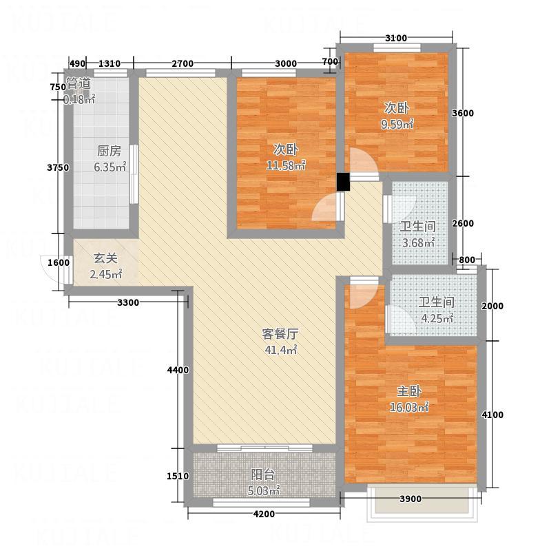 石山新天地13.68㎡7#C2户型3室2厅2卫1厨