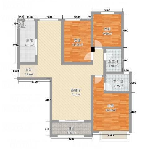 石山新天地3室1厅2卫1厨98.29㎡户型图