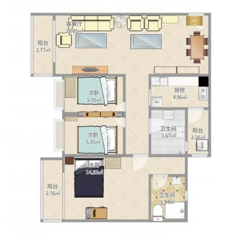 北社大厦3室1厅2卫1厨97.00㎡户型图