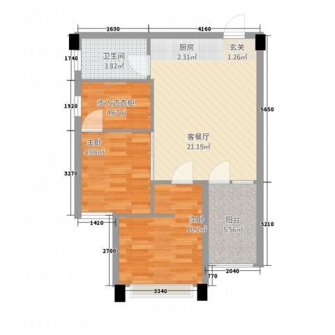一品名门云墅2室1厅1卫0厨75.00㎡户型图
