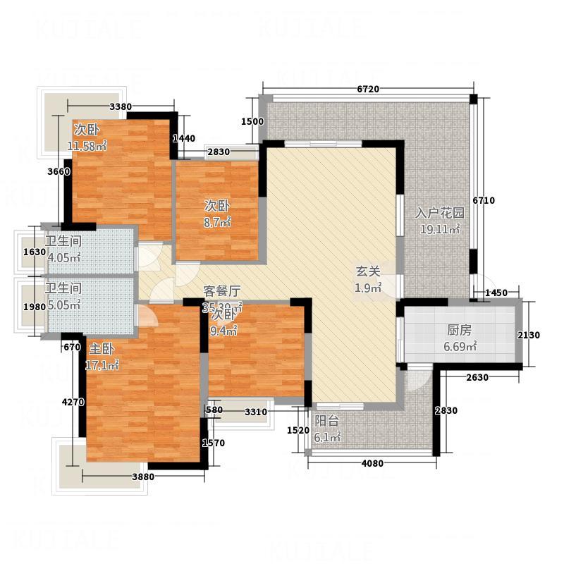 仁和WE城135.54㎡F户型4室2厅2卫