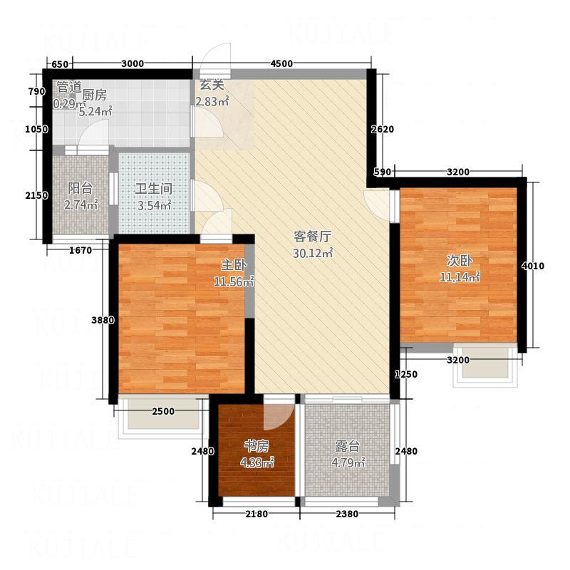 奔马宿舍3-2-1-1-4户型3室2厅1卫1厨