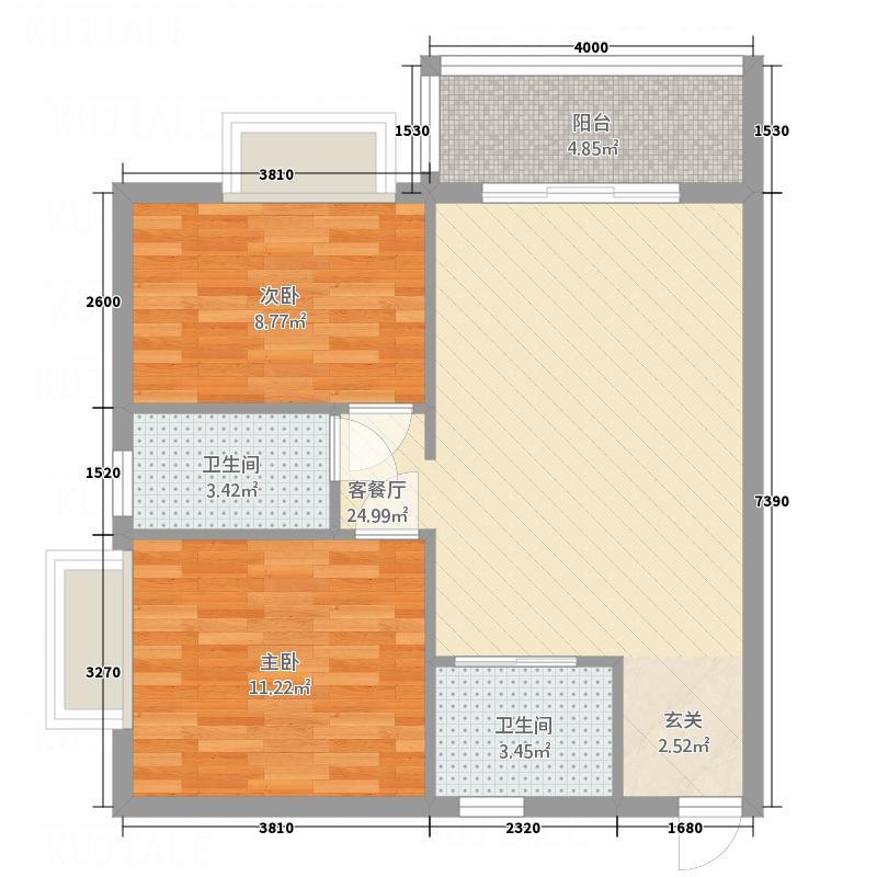 中铭君豪公寓85.55㎡豪仕阁A01、A02、A03户型2室2厅1卫1厨