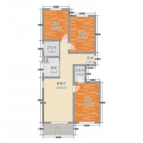 石山新天地3室1厅2卫1厨127.00㎡户型图