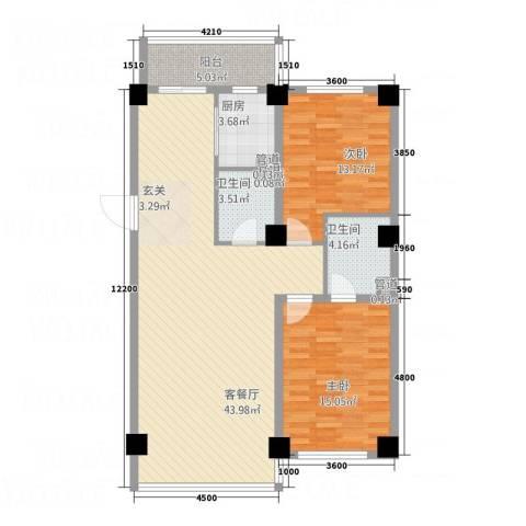 财富公馆1号2室1厅2卫1厨127.00㎡户型图