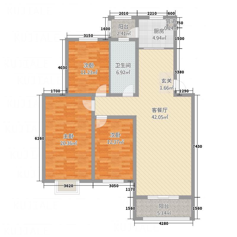 金顶双苑143.85㎡2户型3室2厅2卫1厨