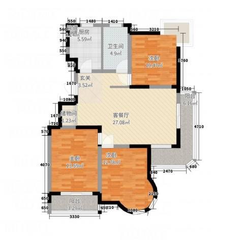 IC时代公寓3室1厅1卫1厨124.00㎡户型图