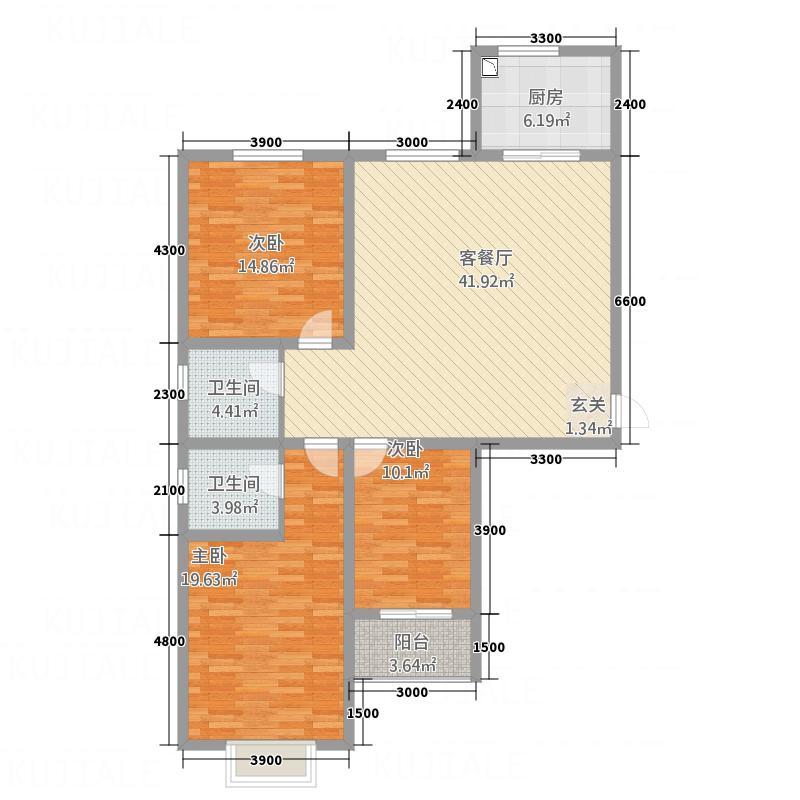 康宁美郡二期户型图2期1#楼A1户型 3室2厅2卫1厨