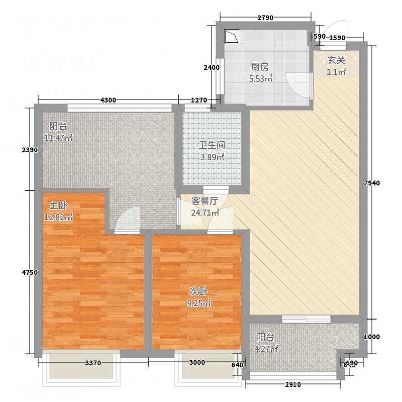 百莱达大厦户型2室