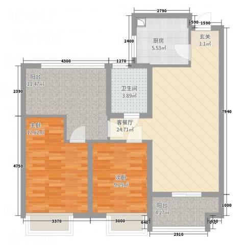 百莱达大厦2室1厅1卫1厨103.00㎡户型图