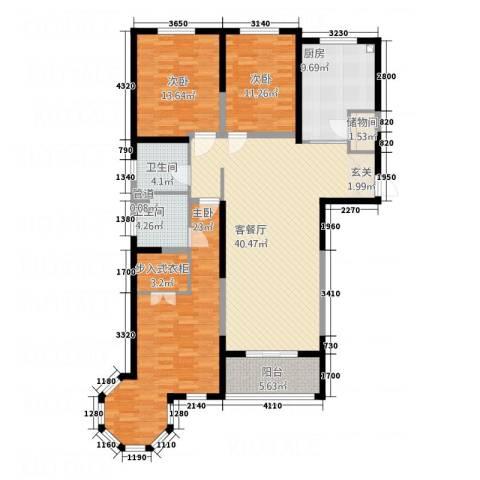 凯润花园3室1厅2卫1厨166.00㎡户型图