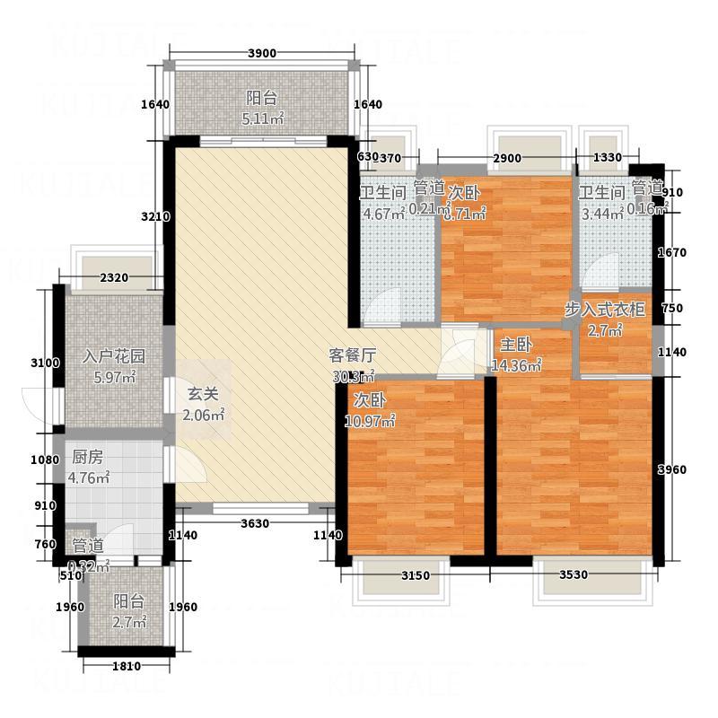 西粤京基城四期125.00㎡5幢01、10户型4室2厅2卫1厨