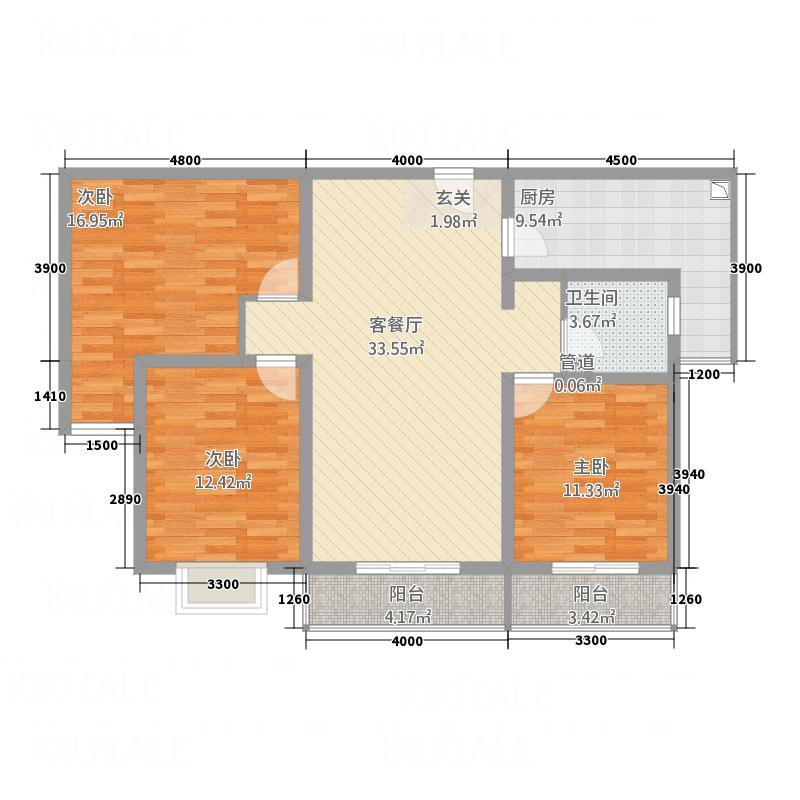 康宁美郡二期户型图2期1#楼B户型 3室2厅1卫1厨