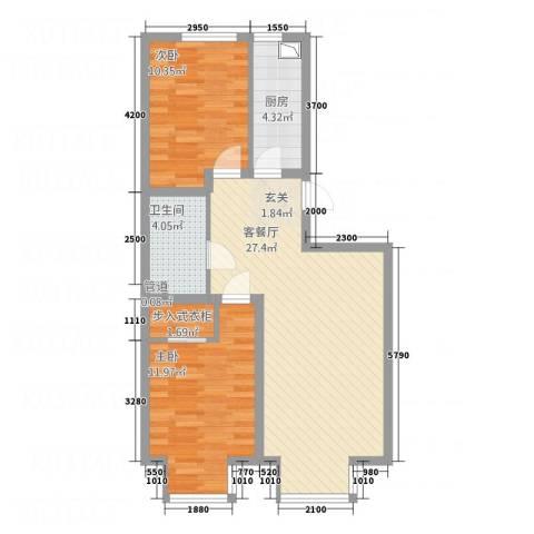 大商・中心城2室1厅1卫1厨86.00㎡户型图