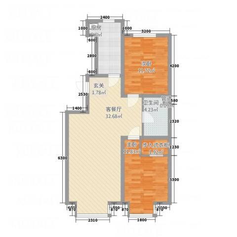 大商・中心城2室1厅1卫1厨68.18㎡户型图