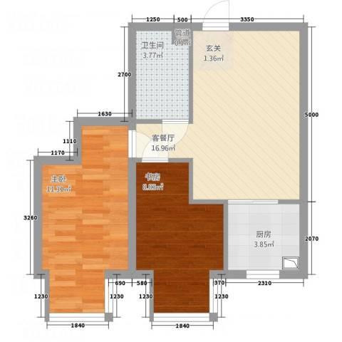 大商・中心城2室1厅1卫1厨61.00㎡户型图