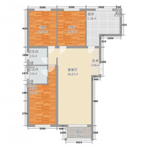 金源财富广场3室1厅2卫1厨133.00㎡户型图