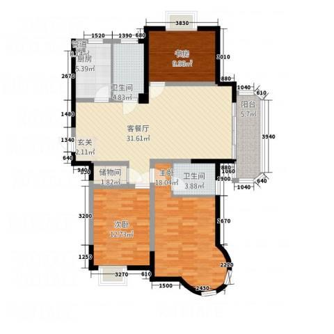 IC时代公寓3室1厅2卫1厨137.00㎡户型图