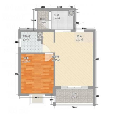 早科坊大厦1室1厅1卫1厨67.00㎡户型图