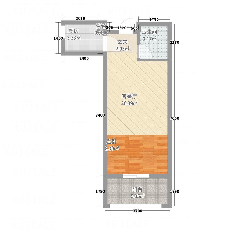 天和・琅峰水岸52.00㎡G5户型1室1厅1卫1厨