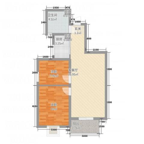 北晨峰景2室1厅1卫1厨82.00㎡户型图