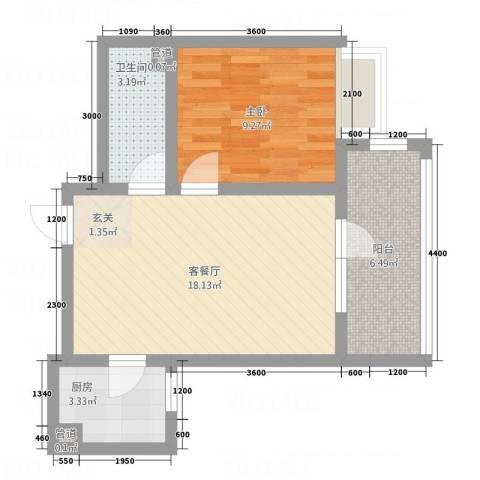 兴业苑1室1厅1卫1厨60.00㎡户型图