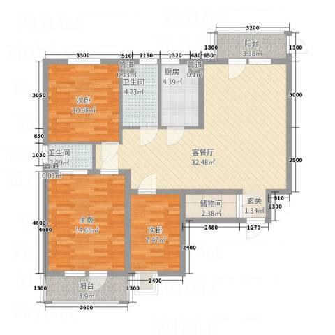 北晨峰景3室1厅2卫1厨124.00㎡户型图