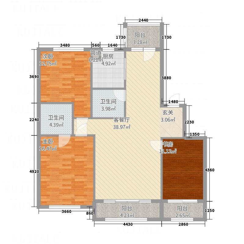 君悦国际城13.00㎡二期小高层D2户型3室2厅2卫1厨