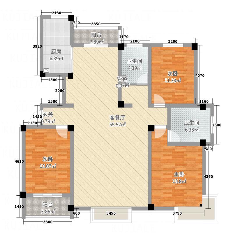永兴花园172.64㎡时尚3户型3室2厅2卫