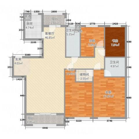 君悦国际城4室1厅2卫1厨164.00㎡户型图