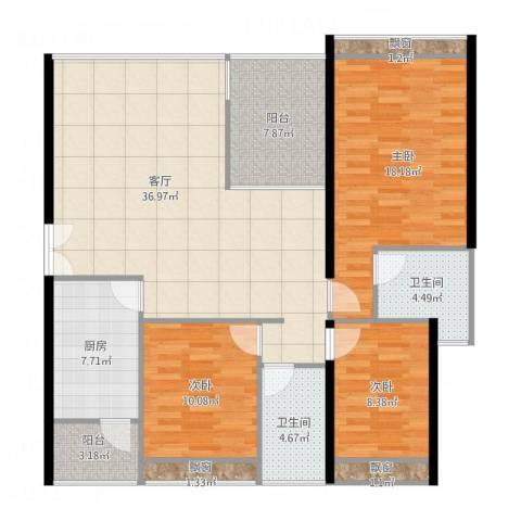 中海蓝湾3室1厅2卫1厨145.00㎡户型图