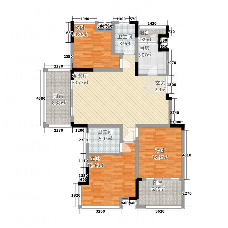 宏义・江湾城11.63㎡二期D标准层户型3室2厅2卫1厨