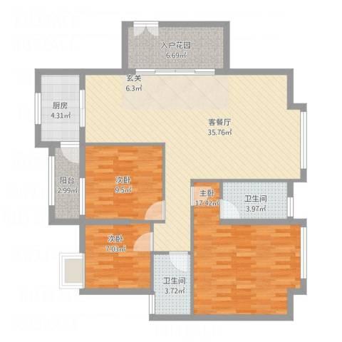 名汇城市花园3室1厅2卫1厨103.37㎡户型图