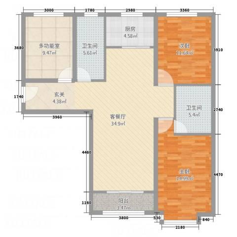 世贸广场2室1厅2卫1厨127.00㎡户型图