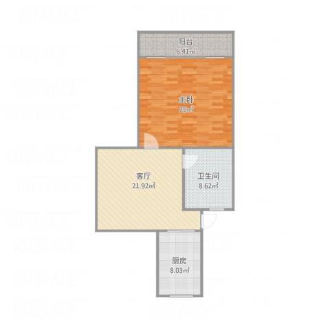 西环三村1室1厅1卫1厨93.00㎡户型图
