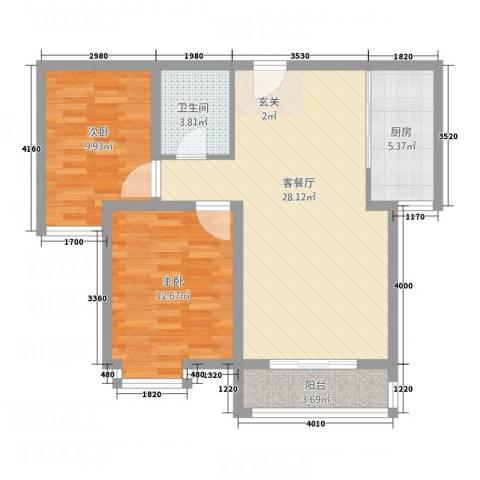 世贸广场2室1厅1卫1厨63.59㎡户型图