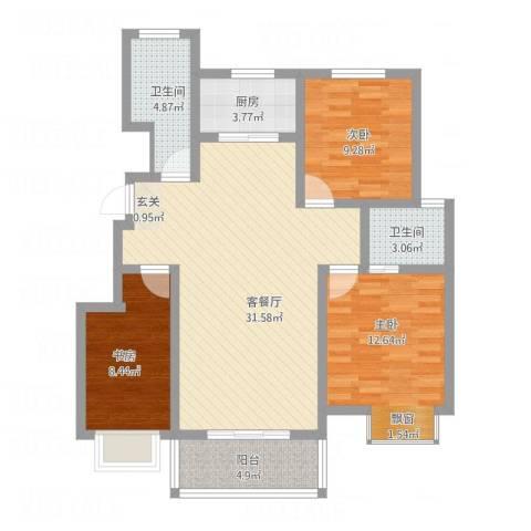 帝都・东城国际3室1厅2卫1厨114.00㎡户型图