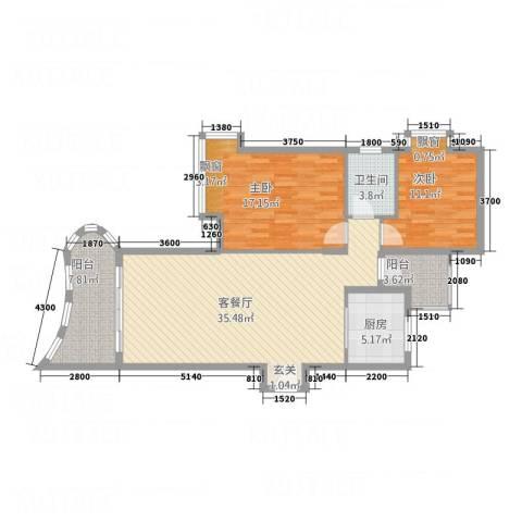 海岸上城2室1厅1卫1厨118.00㎡户型图