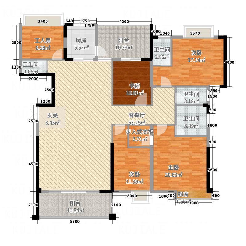 宏达广场25.00㎡H/J/K栋01户型5室2厅4卫1厨